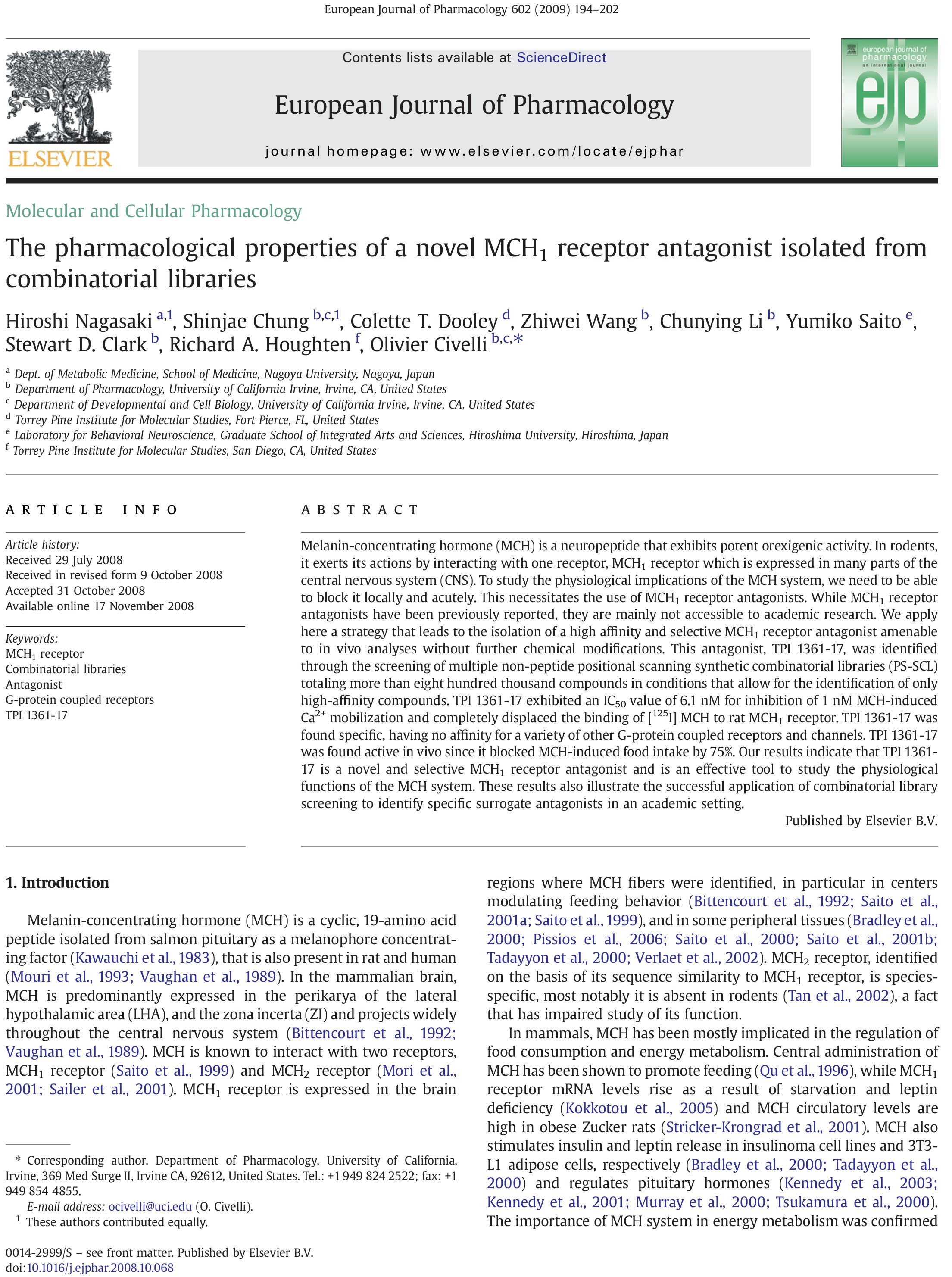 The pharmacological properties of a novel MCH1 receptor antagoni